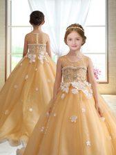 Sleeveless Brush Train Zipper Beading and Appliques Little Girls Pageant Dress Wholesale