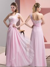 Superior Sleeveless Beading and Appliques Zipper Prom Party Dress