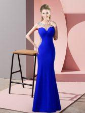Royal Blue Satin Zipper Prom Dress Sleeveless Floor Length Beading and Pick Ups