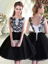 Mini Length Lace Up Prom Party Dress Black for Prom and Party with Beading and Lace
