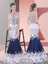 Fine Blue And White Satin Zipper Prom Dresses Sleeveless Floor Length Embroidery