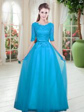 Free and Easy Scoop Half Sleeves Prom Evening Gown Floor Length Lace Blue Tulle