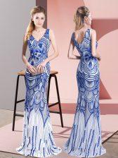 Charming Floor Length Blue Prom Evening Gown Sleeveless Beading