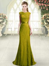 Charming Gold Mermaid Beading and Lace Prom Gown Backless Cap Sleeves