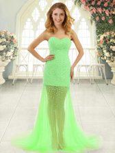 Nice Tulle Zipper Sweetheart Sleeveless Prom Dress Brush Train Beading