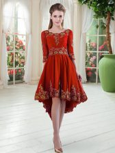 Long Sleeves Lace Up High Low Embroidery Homecoming Dress