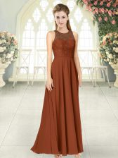 Brown Backless Scoop Lace Prom Gown Chiffon Sleeveless