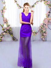 Unique Sleeveless Lace Up Floor Length Lace Vestidos de Damas
