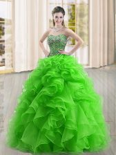 Low Price Sweetheart Sleeveless Quinceanera Gowns Floor Length Beading and Ruffles Green Organza