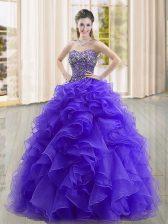 Glamorous Organza Sleeveless Floor Length Sweet 16 Dresses and Beading and Ruffles