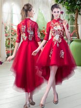 Dazzling High-neck Half Sleeves Homecoming Dress High Low Appliques Red Tulle