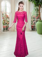 Lace Scoop Half Sleeves Zipper Lace Homecoming Dress in Hot Pink