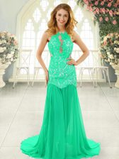 Sleeveless Chiffon Brush Train Backless Prom Gown in Turquoise with Lace