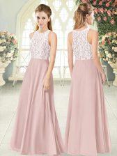 Spectacular Floor Length Empire Sleeveless Pink Prom Dresses Zipper