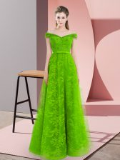 Tulle Off The Shoulder Sleeveless Lace Up Beading Prom Gown in Green