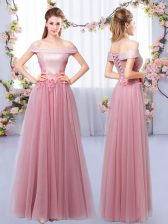 Pink Tulle Lace Up Off The Shoulder Sleeveless Floor Length Dama Dress for Quinceanera Appliques