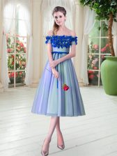 Attractive Tea Length Blue Homecoming Dress Off The Shoulder Sleeveless Lace Up