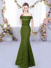 Olive Green Mermaid Off The Shoulder Sleeveless Lace Floor Length Lace Up Dama Dress for Quinceanera