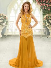 Colorful Gold Prom Gown Chiffon Brush Train Sleeveless Lace