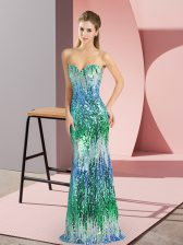 Delicate Floor Length Lace Up Prom Gown Multi-color for Prom and Party and Military Ball with Beading and Sequins