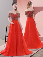 Shining Red Lace Up Prom Evening Gown Short Sleeves Sweep Train Beading and Lace