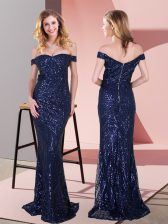 Sleeveless Sequined Floor Length Zipper Prom Dresses in Navy Blue with Ruching