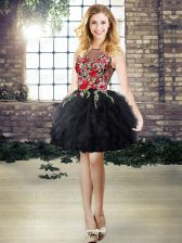 Flare Black A-line Embroidery and Ruffles Dress for Prom Lace Up Organza Sleeveless Mini Length