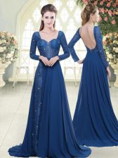 Blue Prom Gown Prom and Party with Beading and Lace Sweetheart Long Sleeves Sweep Train Zipper