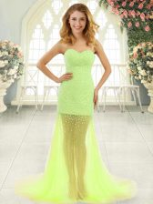 Yellow Green Sleeveless Tulle Brush Train Zipper Prom Gown for Prom and Party