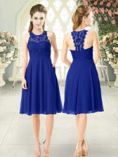 Beauteous Chiffon Scoop Sleeveless Zipper Lace Prom Party Dress in Royal Blue
