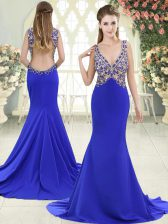 Beading Prom Evening Gown Blue Backless Sleeveless Sweep Train