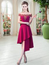 Wine Red A-line Satin Off The Shoulder Sleeveless Appliques Asymmetrical Zipper