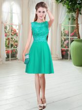 Turquoise Empire Scalloped Sleeveless Satin Knee Length Zipper Lace Prom Party Dress