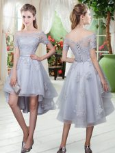 Off The Shoulder Short Sleeves Tulle Homecoming Dress Appliques Lace Up