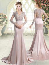 Mermaid Long Sleeves Pink Dress for Prom Sweep Train Zipper