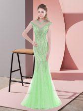Classical Sweep Train Mermaid Apple Green Scoop Tulle Cap Sleeves Zipper