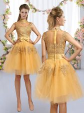Gold A-line Tulle High-neck Cap Sleeves Lace and Bowknot Knee Length Zipper Court Dresses for Sweet 16