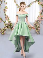 Wonderful Green A-line Satin Off The Shoulder Sleeveless Appliques High Low Lace Up Quinceanera Court Dresses