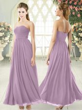 Sleeveless Ankle Length Ruching Zipper Prom Evening Gown with Purple