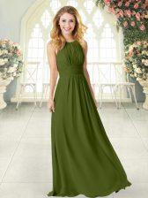Scoop Sleeveless Zipper Prom Party Dress Olive Green Chiffon