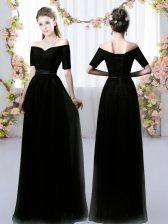 Black Off The Shoulder Neckline Ruching Damas Dress Short Sleeves Lace Up