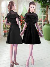 Lovely Black Zipper Lace Short Sleeves Knee Length