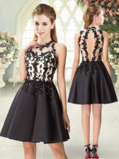 Sleeveless Satin Mini Length Backless Prom Dress in Black with Beading and Appliques
