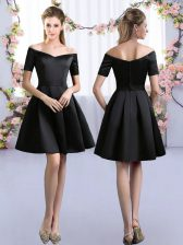 Custom Made Black A-line Satin Off The Shoulder Short Sleeves Ruching Mini Length Zipper Quinceanera Dama Dress