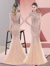 Elegant Sleeveless Sweep Train Beading Zipper Evening Dress