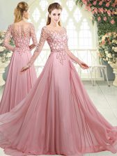 Discount Pink Prom Evening Gown Prom and Party with Beading Scoop Long Sleeves Sweep Train Zipper