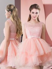 Custom Fit Lace Prom Gown Pink Lace Up Sleeveless