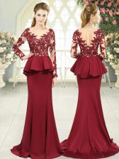 Custom Made Red Satin Zipper Prom Evening Gown Long Sleeves Sweep Train Lace and Appliques