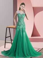 On Sale Tulle Sleeveless Homecoming Dress Sweep Train and Beading and Appliques