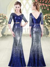 Custom Made Half Sleeves Sequined Floor Length Zipper Evening Dress in Royal Blue with Belt